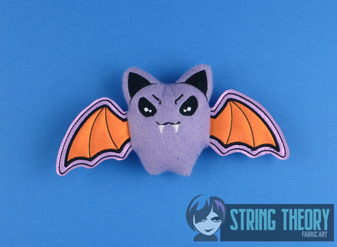 Cutie Vamp Bat stuffie 4x4 machine embroidery design