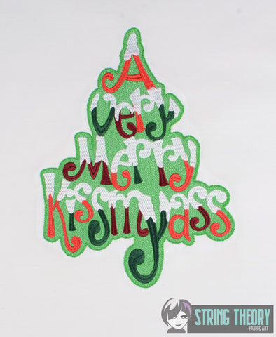 A Very Merry Kissmyass 7x11 machine embroidery design