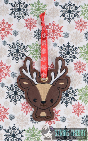 Cutie Reindeer Ornament  ITH 4x4 machine embroidery design