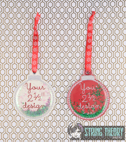 Blank trapped ornament ITH 4x4 machine embroidery design