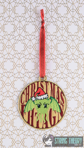CHRISTMAS FHTAGN CTHULHU Ornament ITH 4x4 machine embroidery design