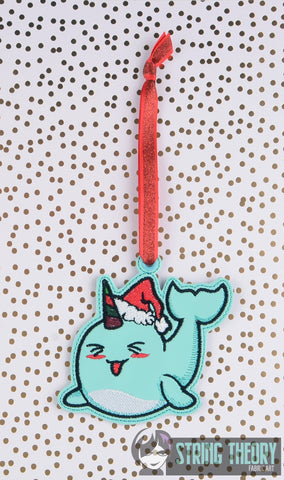 Stabby the Christmas Narwhal Ornament ITH 4x4 machine embroidery design