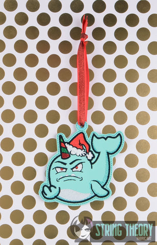 Disgruntled Christmas Stabby the Narwhal Ornament ITH 4x4 machine embroidery design