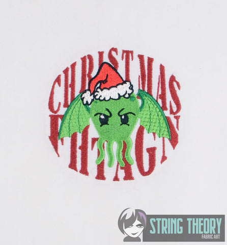 Christmas Fhtagn Cthulhu 4x4 machine embroidery design