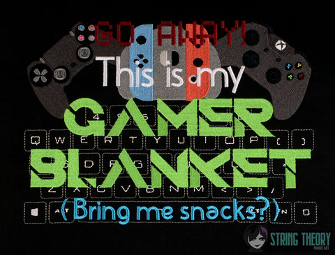 This is my Gamer blanket 8x12 machine embroidery design WITH and WITHOUT Knockdown stitch