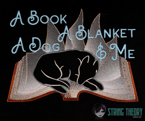 A book, A Blanket, a dog, & me (dogs) 8x12 machine embroidery design WITH and WITHOUT Knockdown stitch