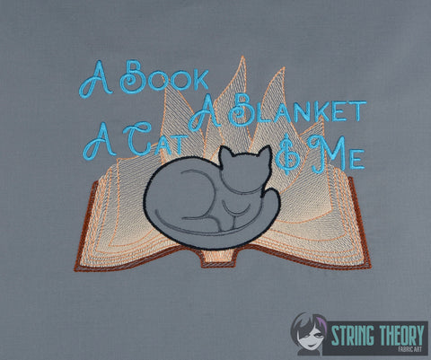 A book, A Blanket, a cat, & me (cats) 6x10 machine embroidery design WITH and WITHOUT Knockdown stitch
