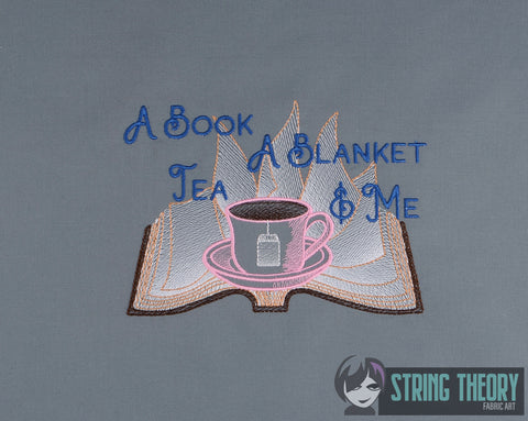 A Book, Blanket, Tea, & Me 5x7 machine embroidery design WITH and WITHOUT Knockdown stitch