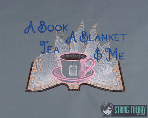 A Book, Blanket, Tea, & Me 6x10 machine embroidery design WITH and WITHOUT Knockdown stitch
