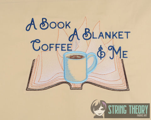 A Book, Blanket, Coffee, & Me 6x10 machine embroidery design WITH and WITHOUT Knockdown stitch