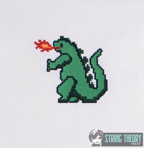 8 bit Godzilla 4x4 Machine embroidery design