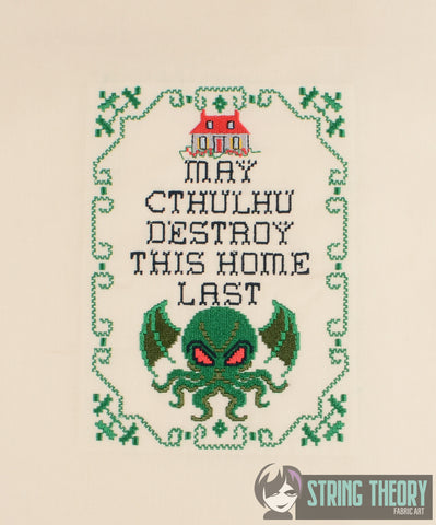 May Cthulhu destroy this house last 8 bit sampler 5x7 machine embroidery design