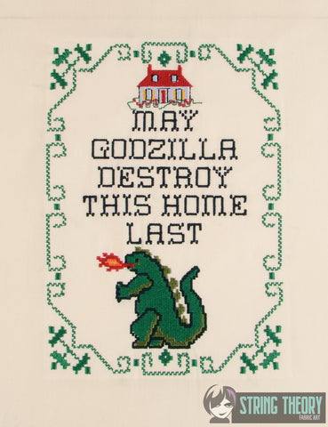May Godzilla Destroy this House last 6x10 machine embroidery pattern