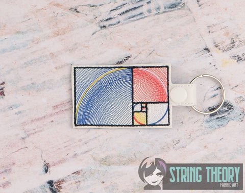 Mondrian Golden Spiral snap tab key fob  4x4 machine embroidery design