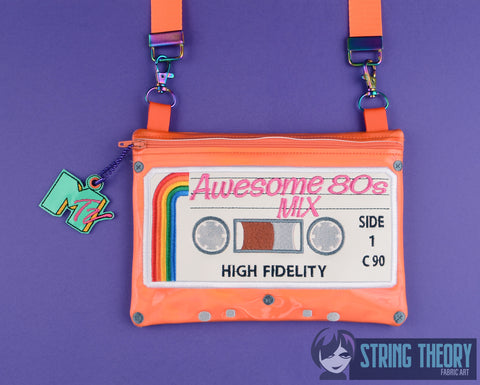 Retro 80s Cassette zip bag 6x10 w/ MTV Dangle ITH MACHINE EMBROIDERY DESIGN