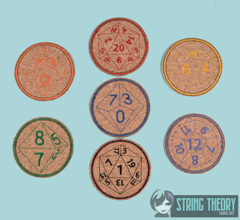 DnD Dice COASTER SET -  7 designs 4x4 ITH machine embroidery design