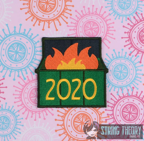 Dumpster Fire 2020 applique patch 4x4 machine embroidery design