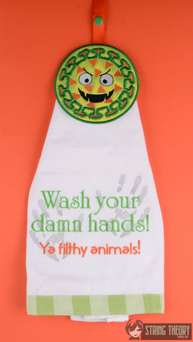 Corny V Rus XIX and Wash your damn hands Towel Topper Set ITH 5x7 machine embroidery design