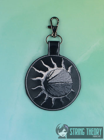 Stone Eclipse Black Sun snap tab key fob 4x4 machine embroidery design