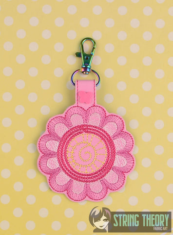 Flower Bomb 2 snap tab key fob 4x4 machine embroidery design