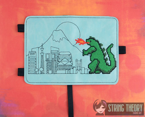 8 Bit Godzilla POSH BOOK NOTEBOOK COVER ITH 5X7 MACHINE EMBROIDERY DESIGN