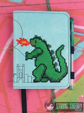 8 Bit Godzilla LUXE BOOK NOTEBOOK COVER for A6 notebooks ITH 6x10 MACHINE EMBROIDERY DESIGN