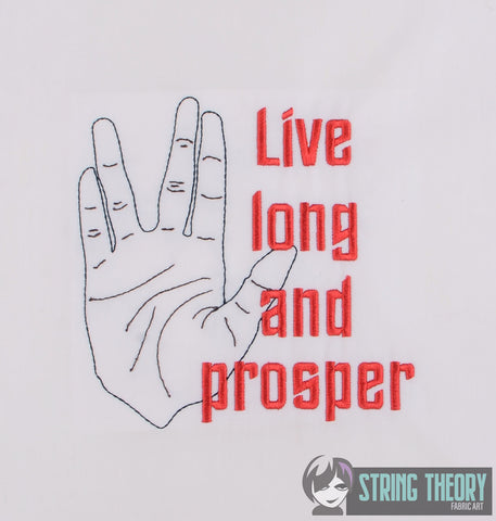 Star Exploration Live Long and Prosper 5x7 machine embroidery design