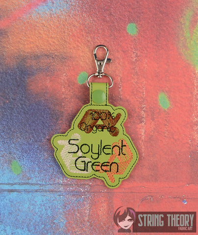 100% Organic Soylent Green snap tab key fob 4x4 machine embroidery design
