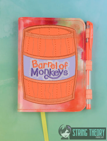 Barrel of Monkeys applique LUXE BOOK NOTEBOOK COVER for A6 notebooks ITH 6x10 MACHINE EMBROIDERY DESIGN
