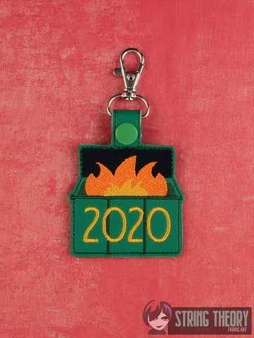 2020 Dumpster Fire snap tab key fob 4x4 machine embroidery design