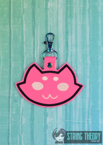 Roxy's Mutated Cat snap tab key fob 4x4 machine embroidery design