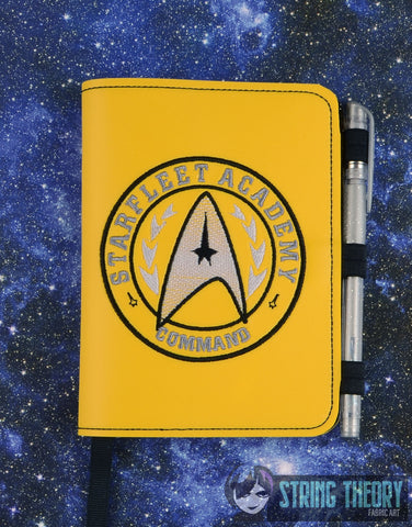 Star Exploration Academy- Command LUXE BOOK NOTEBOOK COVER for A6 notebooks ITH 6x10 MACHINE EMBROIDERY DESIGN