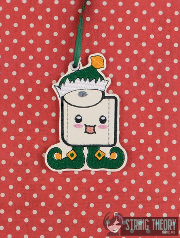 Toilet Paper Elf Ornament ITH 4x4 machine embroidery design