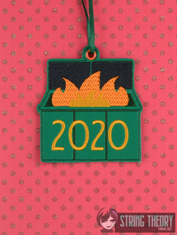 2020 Dumpster Fire Ornament ITH 4x4 machine embroidery design