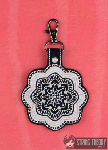Nymphaea Fractal snap tab key fob 4x4 machine embroidery design