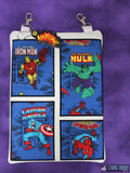 Comic Book Panel Applique Zip Bag Fully Lined 8x12 with KAPOW dangle ITH MACHINE EMBROIDERY DESIGN