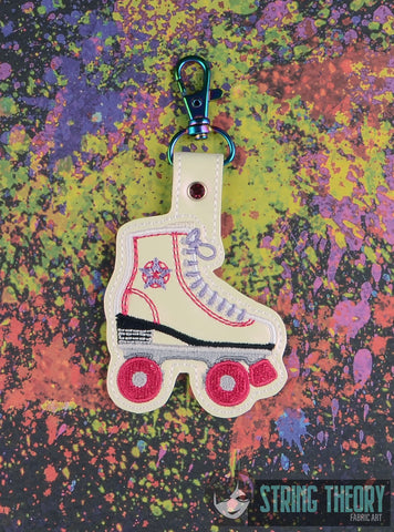 Roller Skate snap tab key fob 4x4 machine embroidery design