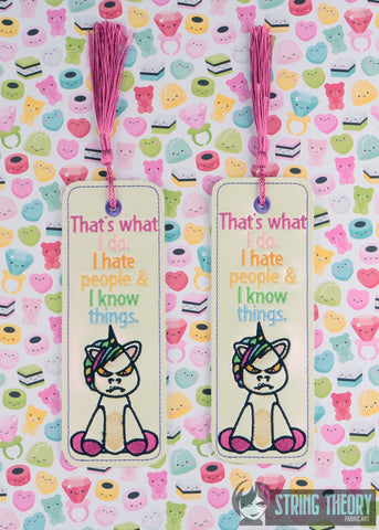 I Hate People & I Know Things 2ITH Bookmark 5x7 MACHINE EMBROIDERY DESIGN
