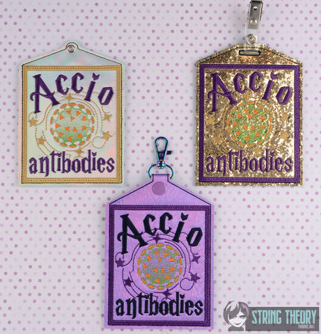 Summon Antibodies 3 patterns eyelet, slit, & snap tab 5x7 ITH machine embroidery design