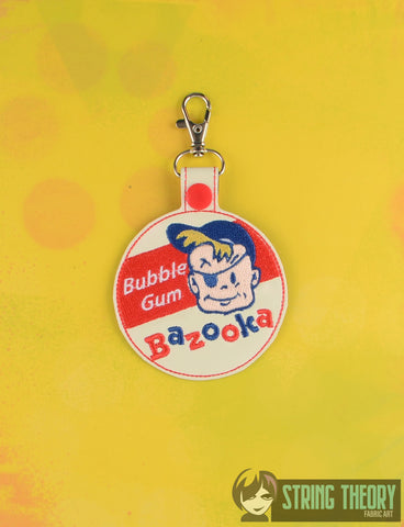 Bazooka Joe snap tab key fob 4x4 machine embroidery design