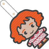 Spell Academy Chibi Red Haired Mom snap tab key fob ITH 4x4 machine embroidery design