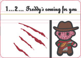 Chibi Freddy Krueger 5x7 zip bag with glove dangle machine embroidery design