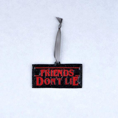 """Unusual Stuff"" Friends Don't Lie ornament ITH 4x4 machine embroidery design"