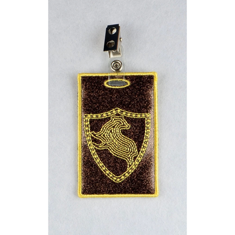 Badger Coat of Arms ID Badge holder 4x4 ITH machine embroidery design