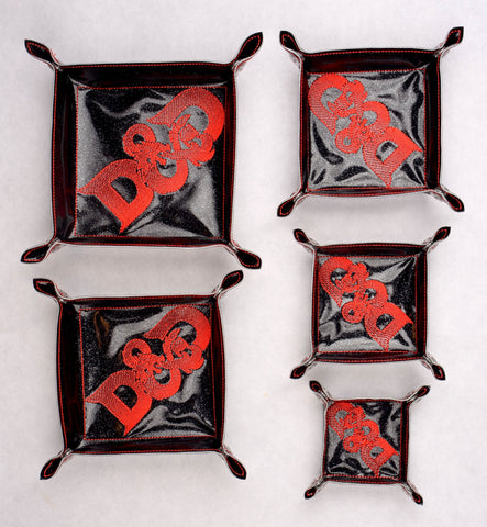 D&D portable dice tray SET 5 SIZES ITH machine embroidery design