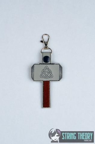 Mjolnir snap tab key fob ITH 4x4 machine embroidery design