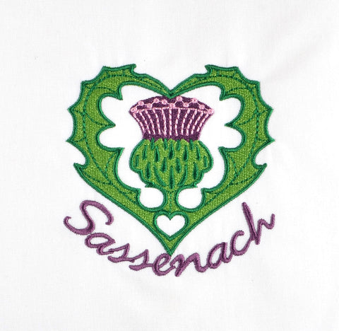 Scottish Romance Thistle Heart w/ Text 4x4 machine embroidery design