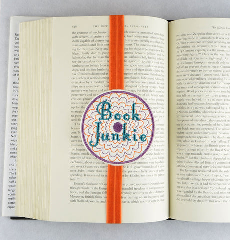 Book Junkie planner band bookmark ITH machine embroidery design 4x4