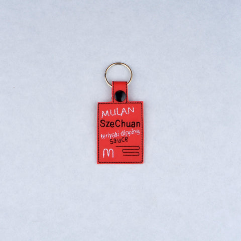 Szechuan Dipping Sauce key fob snap tab machine embroidery design