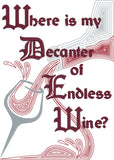 Decanter of Endless Wine machine embroidery design 5x7